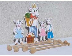 Koza a kozliatka - bábky, tyčky