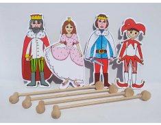 Gašparko, princezná, princ, kráľ - bábky, tyčky