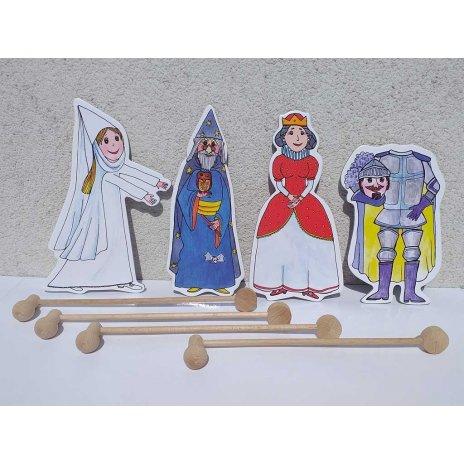 Kráľovná, čarodejník, biela pani, rytier - bábky, tyčky
