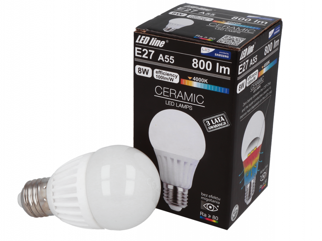 Led Line LED žárovka E27 8W 800lm neutrální (70W)