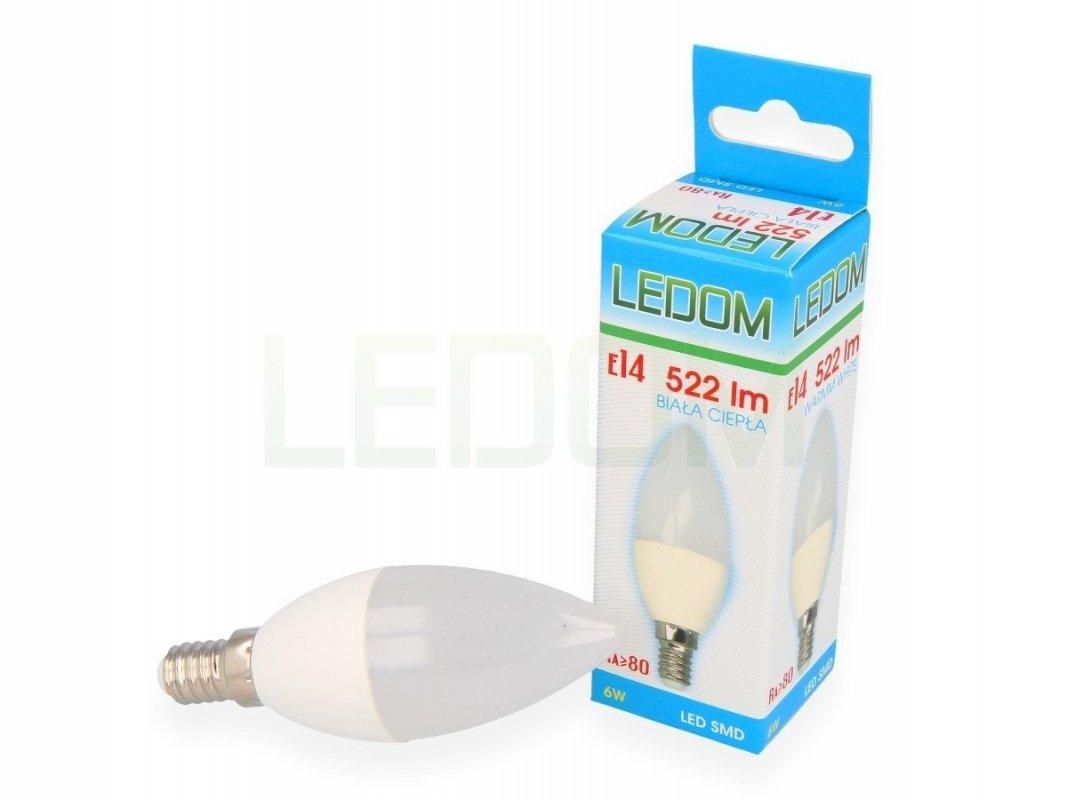Ledom AKCE: 26 + 4 LED svíčka E14 6W 522lm teplá (50W)