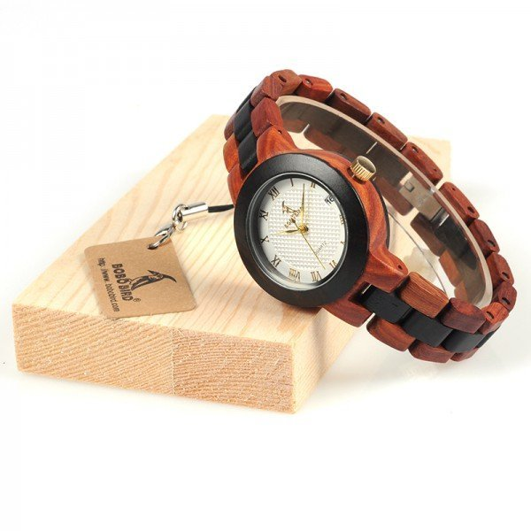 Dřevěné hodinky BOBO BIRD 2017 - Červeno - Černé dřevo