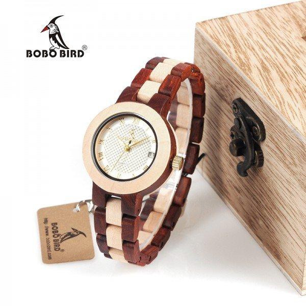 Dřevěné hodinky BOBO BIRD 2017 - Přírodní, bílé - Červené dřevo