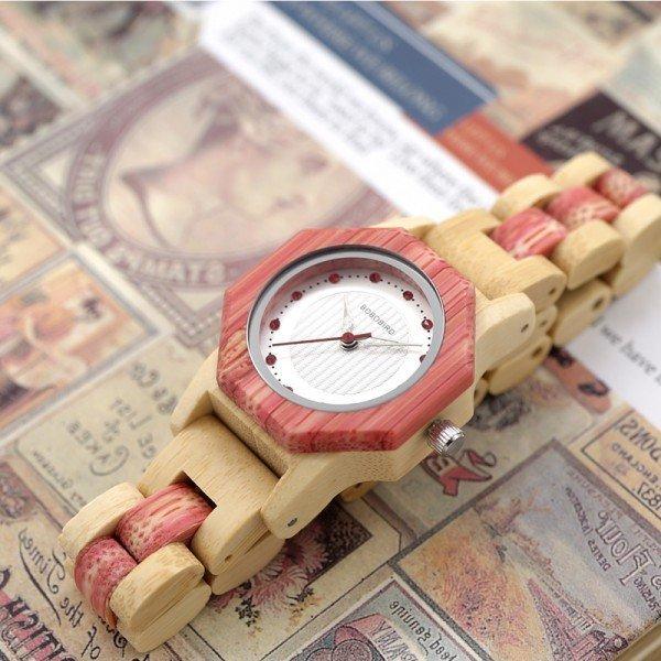 Dřevěné hodinky BOBO BIRD Octagon - Růžové