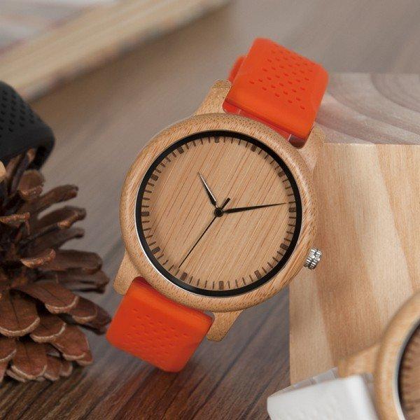 Dřevěné hodinky BOBO BIRD B08 - oranžový pásek