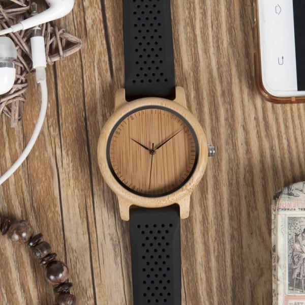 Dřevěné hodinky BOBO BIRD B08 - černý pásek