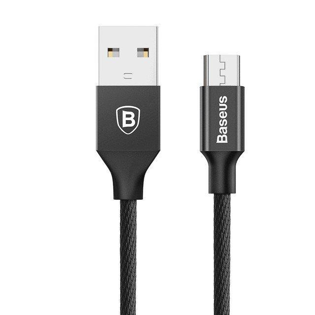 KB03 micro USB kabel potažený tkaninou android, Černá, 1m Černá 1m