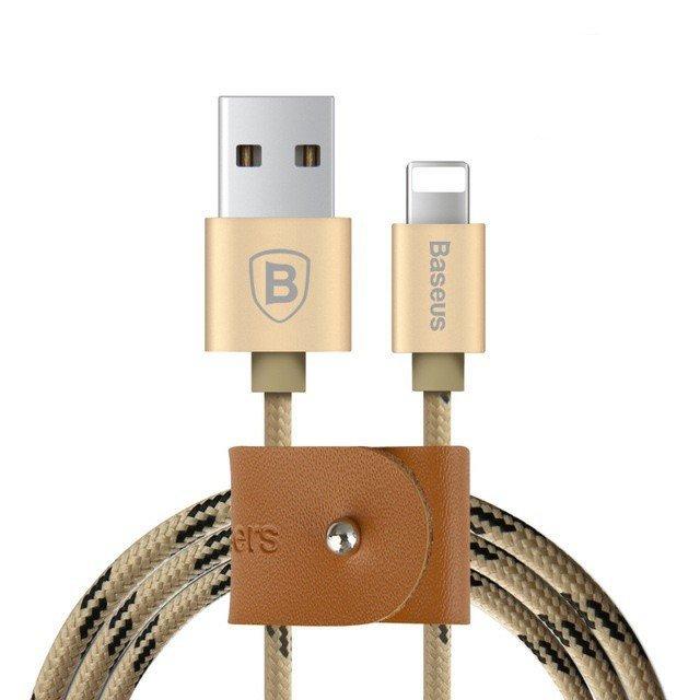 KB09 USB kabel z nylonových vláken s lightning konektorem, Zlatá, 1,5m 1,5m