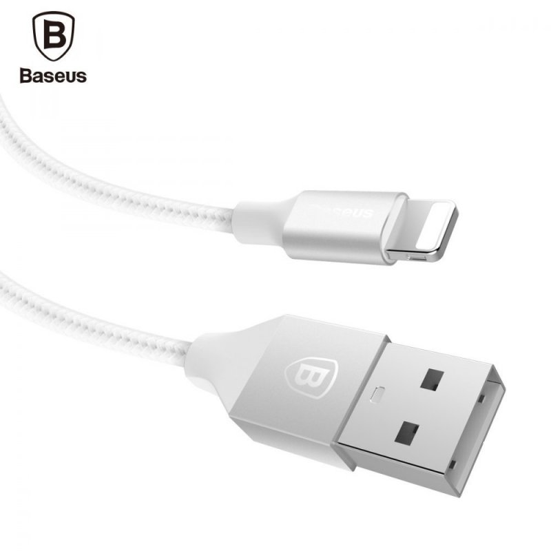KB14 USB kabel z nylonových vláken s lightning konektorem, Bílá, 1m Bílá