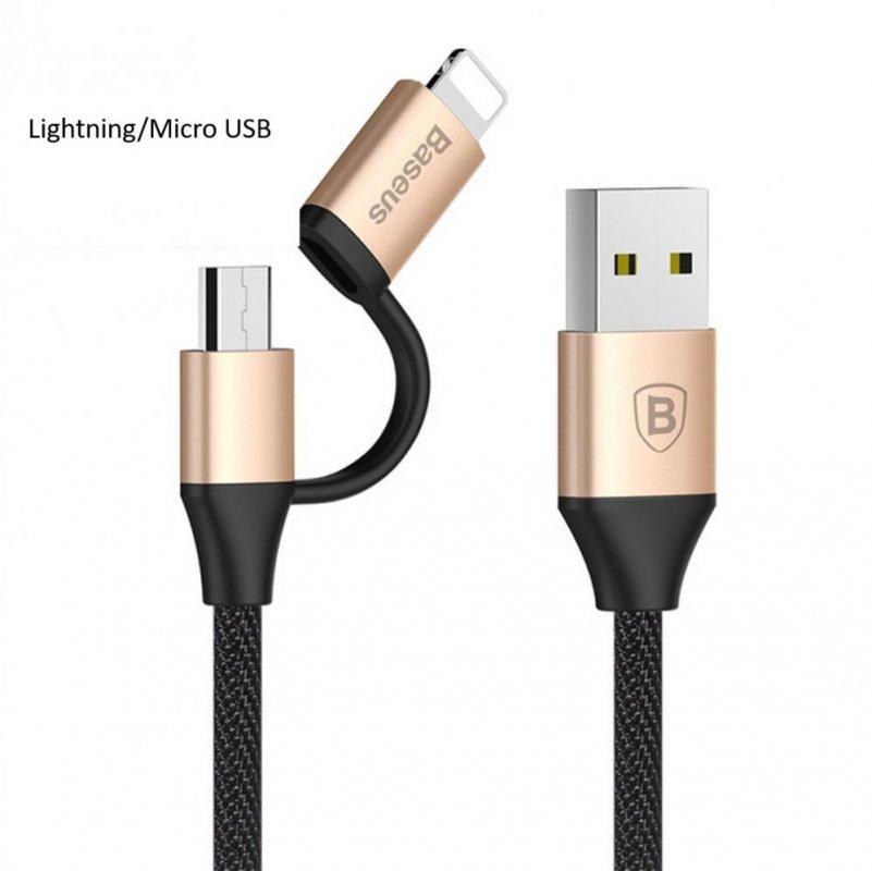 KB19 Yiven 2in1 USB kabel pro Iphone i Androidy (Lightning - Micro USB)/(USB-C - Micro USB),Zlatá, 1m, Lightning/Micro USB Zlatá Lightning/Micro USB