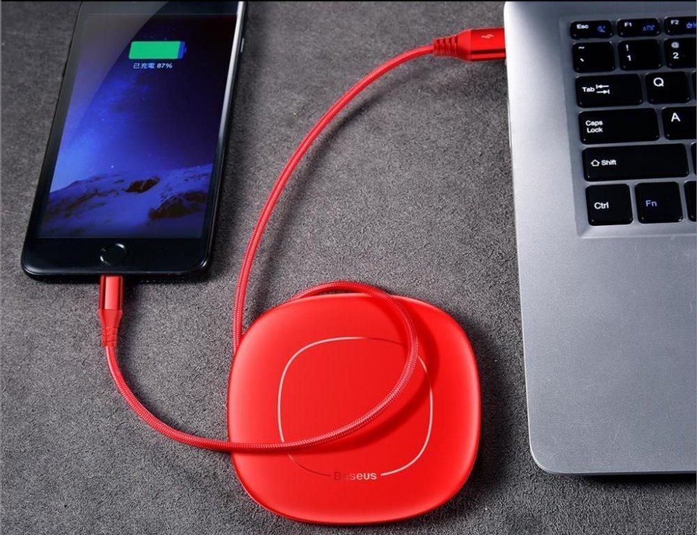 KB22 navíjející USB kabel lightning extra odolný, Červená, 1,2m Červená