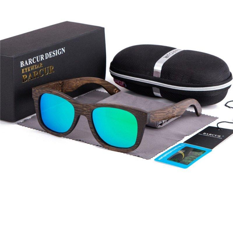 Dřeveněné brýle polarizační Retro style BCR05 Zelená
