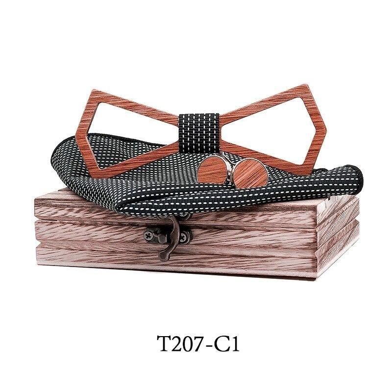 Mahoosive Dřevěný motýlek s kapesníčkem a manžetovými knoflíčky T207-C1