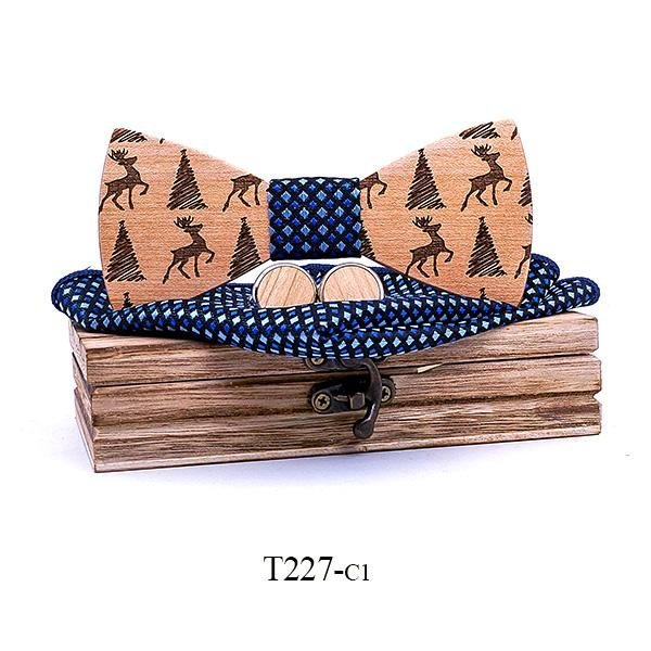 Mahoosive Dřevěný motýlek s kapesníčkem a manžetovými knoflíčky T227