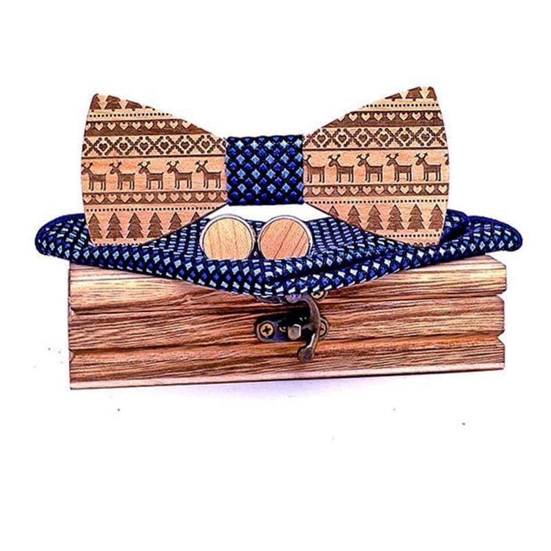 Mahoosive Dřevěný motýlek s kapesníčkem a manžetovými knoflíčky T230