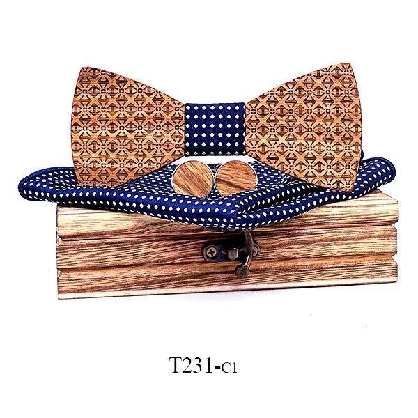 Mahoosive Dřevěný motýlek s kapesníčkem a manžetovými knoflíčky T231