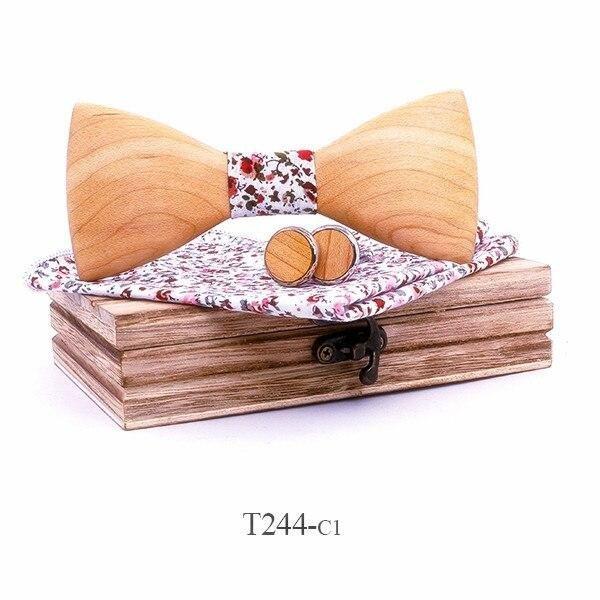 Mahoosive Dřevěný motýlek s kapesníčkem a manžetovými knoflíčky T244