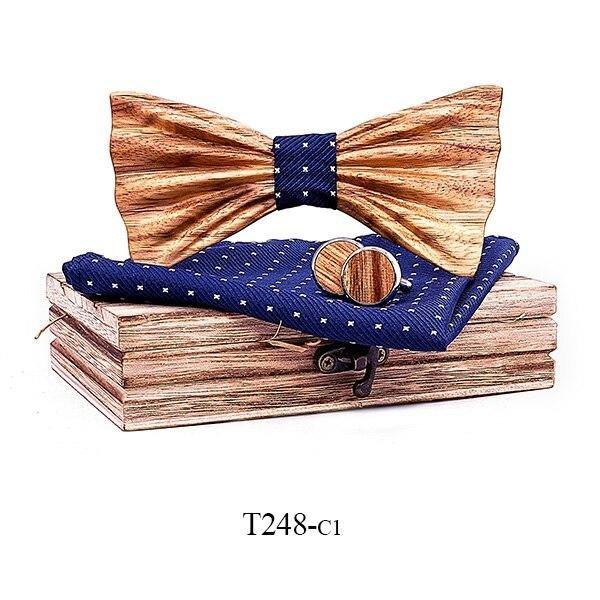 Mahoosive Dřevěný motýlek s kapesníčkem a manžetovými knoflíčky T248