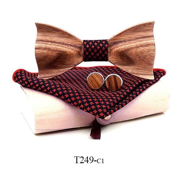 Mahoosive Dřevěný motýlek s kapesníčkem a manžetovými knoflíčky T249