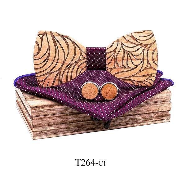 Mahoosive Dřevěný motýlek s kapesníčkem a manžetovými knoflíčky T264