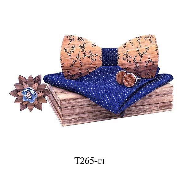 Mahoosive Dřevěný motýlek s kapesníčkem a manžetovými knoflíčky T265