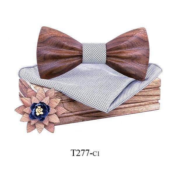 Mahoosive Dřevěný motýlek s kapesníčkem T277