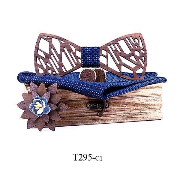 Mahoosive Dřevěný motýlek s kapesníčkem a manžetovými knoflíčky T295