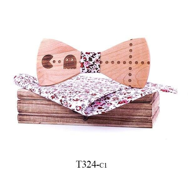 Mahoosive Dřevěný motýlek s kapesníčkem T324