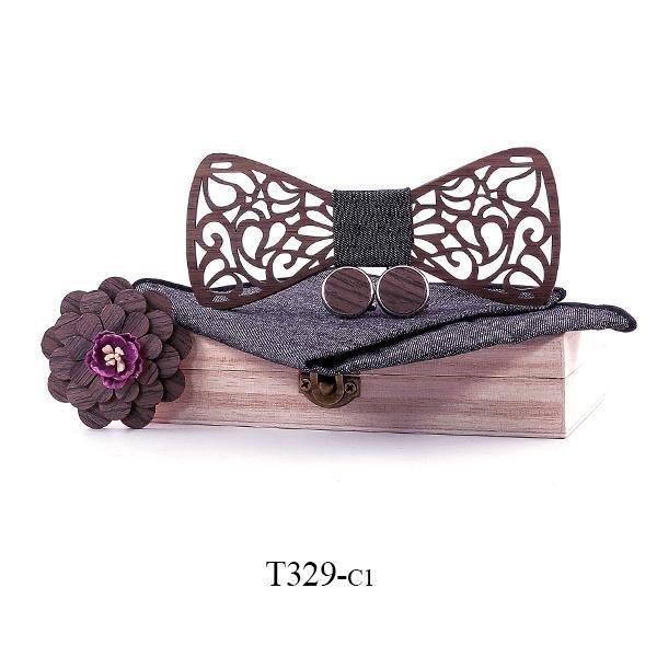 Mahoosive Dřevěný motýlek s kapesníčkem a manžetovými knoflíčky T329