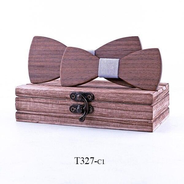Mahoosive 2ks Dřevěný motýlek kombo T327 otec + syn
