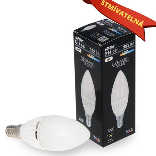 Ledin LED SMD žárovka E14 9W 992LM C37 denní STMÍVATELNÁ (70W)