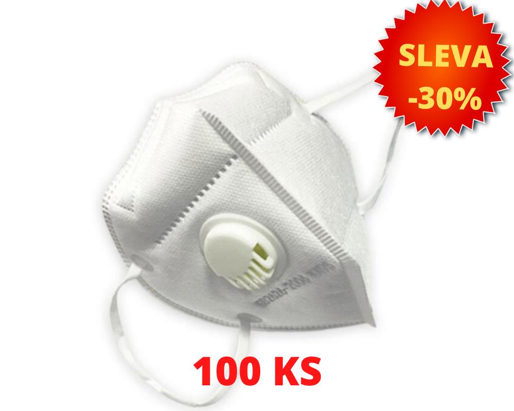 Respirátor s výdechovým ventilem KN95 - SADA 100 KS
