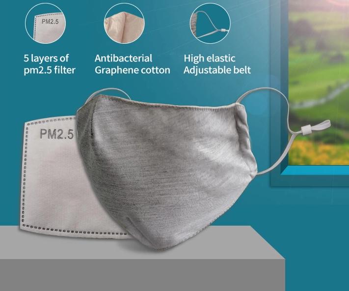 Antibakteriální rouška Secutek Nano+ z nano materiálu s vyměnitelným PM2.5 filtrem