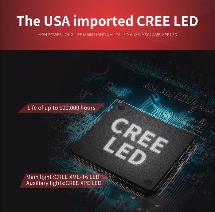Supfire LED čelovka CREE XML-T6 LED 900lm, 4xAA Ni-MH baterie