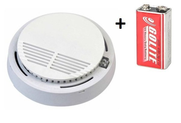 2x Požární hlásič a detektor kouře VIP-909 EN14604 s 9V baterií zdarma + 2x Samolepící magnetický držák pro hlásiče