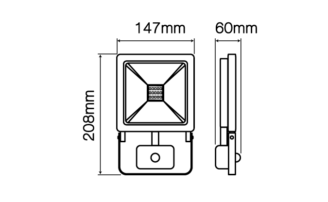 LED Line LED reflektor 30W PHOTON 2400lm denní s PIR čidlem