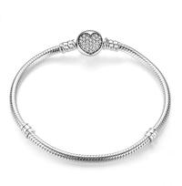 Bamoer stříbrný náramek klasický - srdce