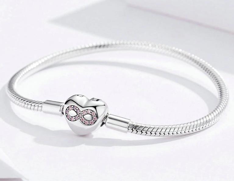 Bamoer stříbrný náramek klasický - srdcovitý tvar