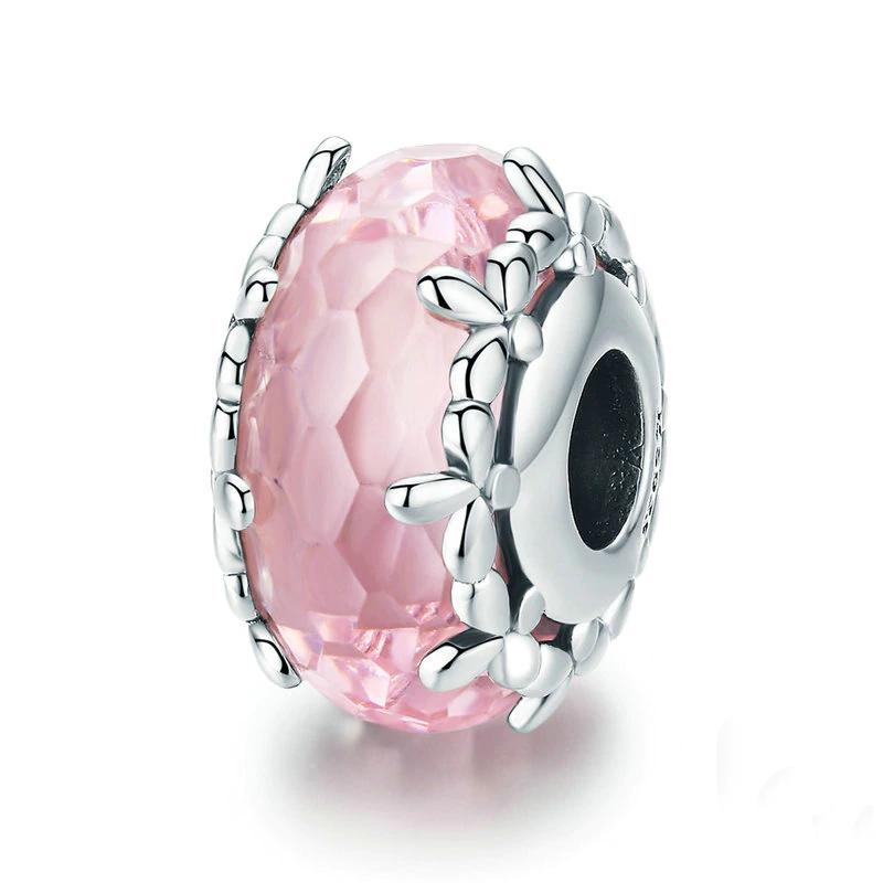 Bamoer stříbrný přívěsek Květinka růžové Murano sklo