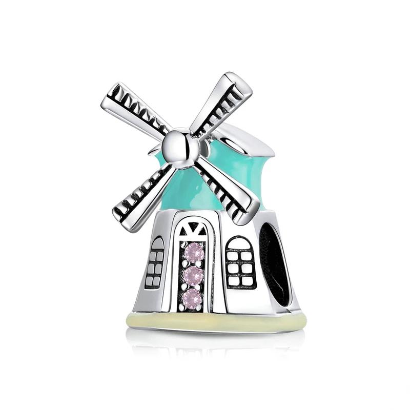 Bamoer stříbrný přívěsek Větrný mlýn
