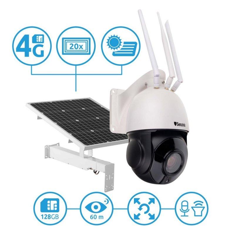 4G PTZ IP kamera Secutek SBS-NC67G-20X se solárním dobíjením - 1080p, 60m IR, 20x zoom