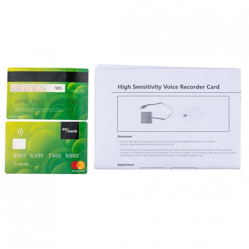 Diktafon v platební kartě Secutek MS-8000