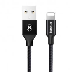 KB04 USB kabel potažený tkaninou Lightning, Černá, 60cm Černá 60cm