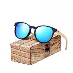 Dřeveněné brýle Vintage Round BCR06 Modrá