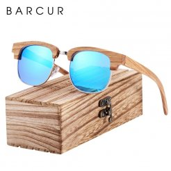 Dřeveněné brýle polarizační Oculos de sol feminino BCR08 Modrá