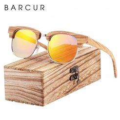Dřeveněné brýle polarizační Oculos de sol feminino BCR08 Oranžová