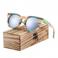 Dřevěněné brýle polarizační Lunette de soleil homme BCR09 Stříbrná