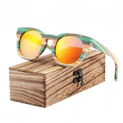 Dřevěněné brýle polarizační Lunette de soleil homme BCR09 Oranžová