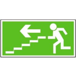 Únikové schodiště vlevo dolů | samolepka, 210x105mm