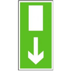 Nouzový východ (šipka dolů) | plastová cedule, 210x105mm
